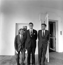 jfk in oval office. Is Pictured With His Brothers, Former Attorney General Robert F. Kennedy (L) And Senator Edward M. Kennedy, Outside The White House Oval Office, Jfk In Office