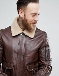 black dust leather aviator jacket in dark brown with borg collar q2r2 for men