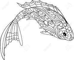 83557520 Fish Zentangle Style Coloring Book For Adult And Kids