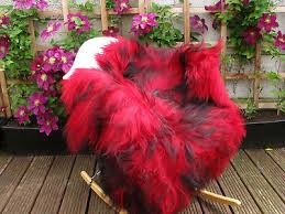 real icelandic single sheepskin rug dyed red and black 432s