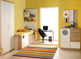 yellow wall paint decoration soft carpet white ceramic flooring tile