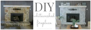 diy whitewashed fireplace