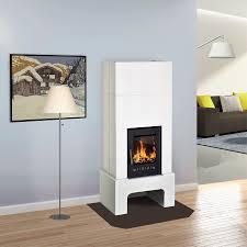 Kachelofen Fuego Stil Aura Weiß Türe Schwarz 1237083