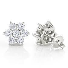 Designer Diamond Stud Earrings Unique 2 5 Carat Diamond Stud Earrings Cluster Star Design 14k Gold