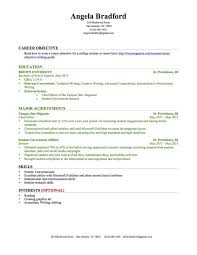 Resumes Examples For Students Impressive Objective For College Resume Resume Example Objective On Resume For
