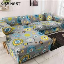 printed sofa cover elastic chaise