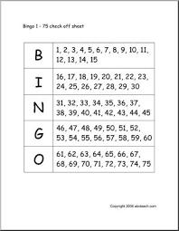 Bingo Cards Numbers 1 75 Check Sheet Abcteach