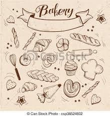 Bakery Pastry Vintage Theme Vector Art Illustration