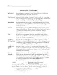 Research Paper Vocabulary List
