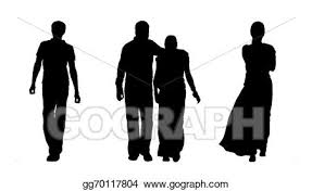 Stock Illustration Indian People Walking Silhouettes Set 1 Clip
