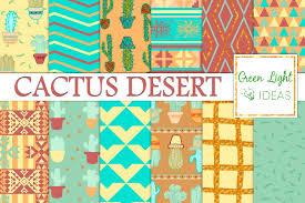 Southwest Pattern Inspiration Cactus Digital Papers Cacti Background Design Bundles