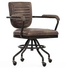 industrial office chair. Picturesque Noa Industrial Rustic Top Grain Leather Adjustable Rolling Task Office Chair T