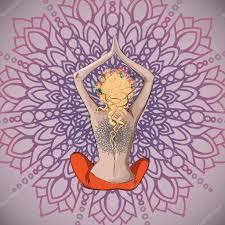 рисунок девушка в позе лотоса девочка йоги в позе лотоса