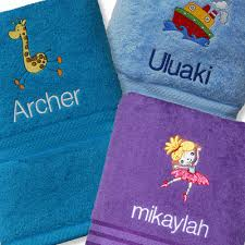 towel for kids. Embroidered Bath Towel - Personalised For Kids