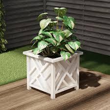 nature spring square planter box white