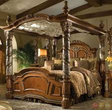 Villa Valencia Luxury King Poster Canopy Bed w/ Marble Posts Aico ...