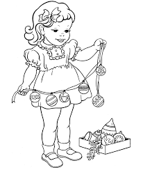 Small Picture Christmas Decor Coloring Pages A Little Girl With Decorations