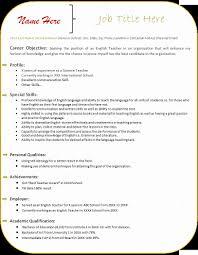 Resume Format For English Teachers Freshers Oneswordnet