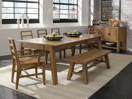 unfinished wooden bench bined with rectangle dining table seat set