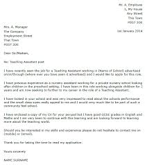 Teaching Assistant Cover Letter Cool Covering Letter For Teaching