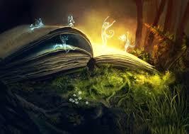 the old book of fantasy pages nature elves artwork light