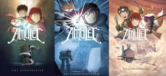 amulet series kibuishi dragonquest series koller island trilogy the paperback book amulet 1 7 box set by kazu