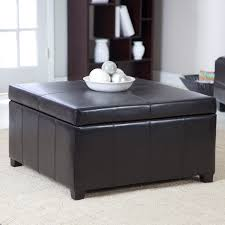 Modern Black Leather Ottoman Coffee Table With Storage Underneath,  Affordable Large Square Ottomans Is The Great Ideas