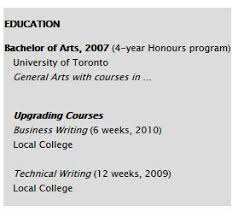if you have two different types of courses provide them in two different sections the lesser ones perhaps as a sub section of the first parts of a resume