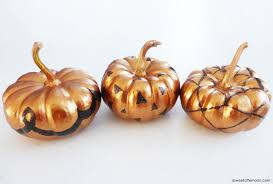 pumpkin decoration idea bronze acrylic paint