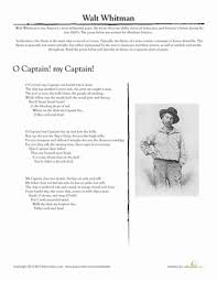 walt whitman o captain my captain worksheet com