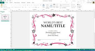 mother s day award certificate template or microsoft publisher or word