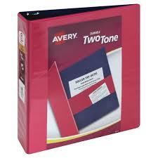 Avery 1 1 2 Inch Binder Avery Binder Durable Two Tone Clear Cover 2 Inch 1 Ea From