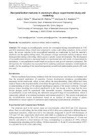 Recrystallization Textures in <b>Aluminum Alloys</b>: Experimental Study ...