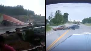 Truck And Car Fall Off Bridge & Three Car Accident Caught On Tape ...