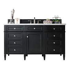 James Martin 650 V60s Bko 3ibk Brittany 60 Inch Single Vanity In Black Onyx With 3 Cm Iconic Black Quartz Top With