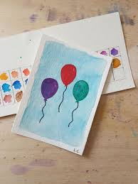Three Balloons Aceo Red Green Purple Watercolour Art