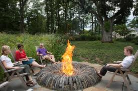 Scottish masonry fire pit design with simple foldable wood chairs - Magical  Outdoor Fire Pit Seating