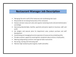 Restaurant Manager Job Description sample