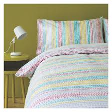 crisp and fresh looking the leyla multi coloured patterned single duvet cover set features a lively hand drawn design in vibrant hues