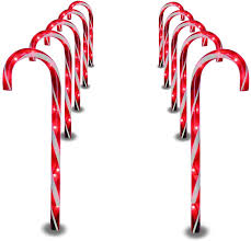 Candy Cane Lights 3 Pack Prextex Christmas Candy Cane Pathway Markers Set Of 10 Christmas Indoor Outdoor Decoration Lights