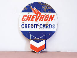 chevron credit cards double sided sign