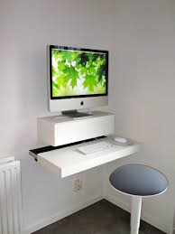 innovative floating white computer desk ideas for small spaces with round stool near white painted wall