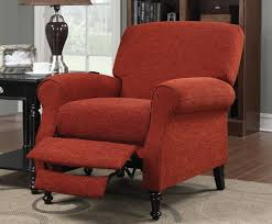 upholstered recliner chair. Unique Recliner This Red Fabric Upholstered Recliner Features A Push Back Action Requiring  No Lever To Move To Upholstered Recliner Chair L