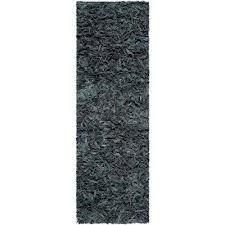leather grey 2 ft x 11 ft runner rug