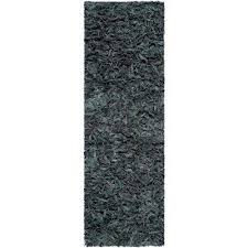 leather grey 2 ft x 11 ft runner rug