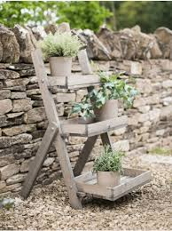rustic wooden plant stand