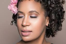 natural black bride makeup hair curls flowers pink