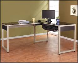 l shaped desks home office. modern l shaped desk with silver frame black glass home intended for desks office