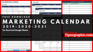 Marketing Calendar Template For Excel Free Download