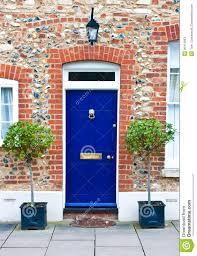 Blue front door stock image. Image of doorknob, exterior - 20412663